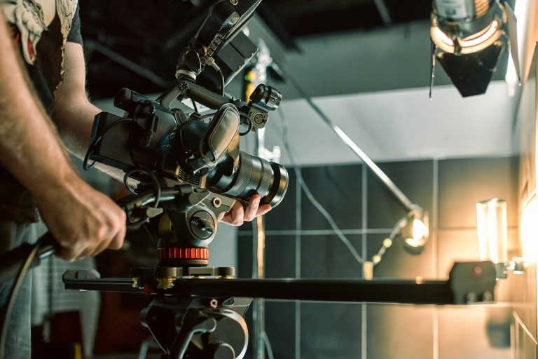 Studio Production, camera on slider